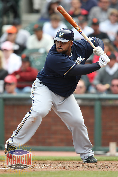 SAN FRANCISCO - JULY 20:  Prince Fielder of the Milwaukee Brewers bats during the game against the San Francisco Giants at AT&T Park in San Francisco, California on July 20, 2008.  The Brewers defeated the Giants 7-4.  Photo by Brad Mangin