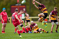 Brendan COPE (10) of Jersey Reds kicks clear during the Greene King IPA Championship match between Ampthill RUFC and Jersey Reds at Dillingham Park, Ampthill, England on 1 May 2021. Photo by David Horn.