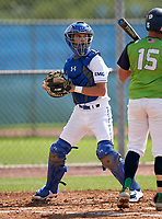 IMG Academy Ascenders Navy catcher Walker Barron (10) during a game against Victory Charter School on April 1, 2021 at IMG Academy in Bradenton, Florida.  (Mike Janes/Four Seam Images)