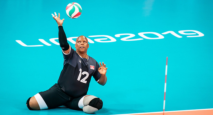 Jamoi Anderson, Lima 2019 - Sitting Volleyball // Volleyball assis.<br /> Canada competes in men's Sitting Volleyball // Canada participe au volleyball assis masculin. 25/08/2019.