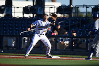 Vanderbilt Commodores infielder Zander Wiel (43) stretches for a throw during a game against the Indiana State Sycamores on February 20, 2015 at Charlotte Sports Park in Port Charlotte, Florida.  Vanderbilt defeated Indiana State 3-2.  (Mike Janes/Four Seam Images)