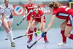 Mannheim, Germany, December 01: During the Bundesliga indoor women hockey match between Mannheimer HC and Nuernberger HTC on December 1, 2019 at Irma-Roechling-Halle in Mannheim, Germany. Final score 7-1. Jule Kosswig #23 of Mannheimer HC<br /> <br /> Foto © PIX-Sportfotos *** Foto ist honorarpflichtig! *** Auf Anfrage in hoeherer Qualitaet/Aufloesung. Belegexemplar erbeten. Veroeffentlichung ausschliesslich fuer journalistisch-publizistische Zwecke. For editorial use only.