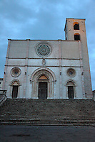 Todi: A view in the sunrise light of the main church, the ancient Duomo dell'Annunciata (cathedral of the Announced). It is located on a side of the main square of the historical center, piazza del Popolo (People square).