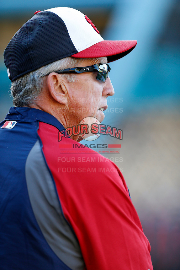 Washington Nationals Manager Davey Johnson #5 before a game against the Los Angeles Dodgers at Dodger Stadium on May 13, 2013 in Los Angeles, California. (Larry Goren/Four Seam Images)