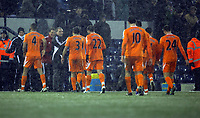 Pictured: Brendan Rodgers manager for Swansea (2nd L) congratulates his players after the end of the game. Saturday, 04 February 2012<br /> Re: Premier League football, West Bromwich Albion v Swansea City FC v at the Hawthorns Stadium, Birmingham, West Midlands.