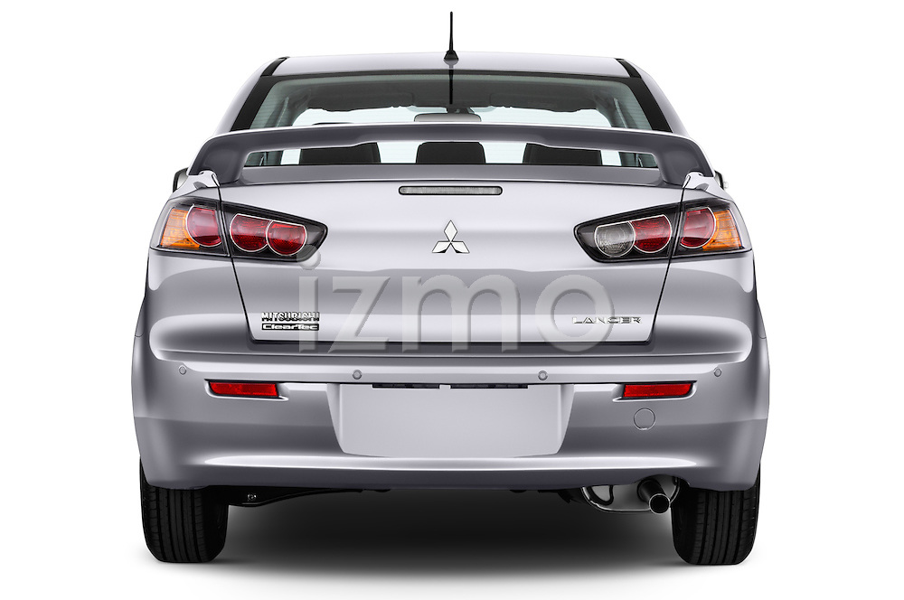 Straight rear view of 2016 Mitsubishi Lancer Intense 4 Door Sedan Rear View  stock images