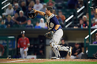 Scranton/Wilkes-Barre RailRiders catcher Eddy Rodriguez (45) directs the play after a bunt during the first game of a doubleheader against the Rochester Red Wings on August 23, 2017 at Frontier Field in Rochester, New York.  Rochester defeated Scranton 5-4 in a game that was originally started on August 22nd but was was postponed due to inclement weather.  (Mike Janes/Four Seam Images)