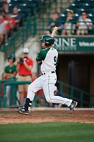 Fort Wayne TinCaps Luke Becker (9) at bat during a Midwest League game against the Peoria Chiefs on July 17, 2019 at Parkview Field in Fort Wayne, Indiana.  Fort Wayne defeated Peoria 6-2.  (Mike Janes/Four Seam Images)