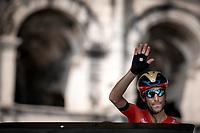Vicenzo Nibali (ITA/Bahrain Merida) at the pre stage sign on <br /> <br /> Stage 16: Nimes to Nimes (177km)<br /> 106th Tour de France 2019 (2.UWT)<br /> <br /> ©kramon