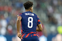 KANSAS CITY, KS - JULY 11: Nicholas Gioacchini #8 of the United States during a game between Haiti and USMNT at Children's Mercy Park on July 11, 2021 in Kansas City, Kansas.