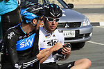 Team Sky Procycling World Champion Mark Cavendish (GBR) and Michael Barry (CAN) before the 2nd Stage of the 2012 Tour of Qatar an 11.3km team time trial at Lusail Circuit, Doha, Qatar. 6th February 2012.<br /> (Photo Eoin Clarke/Newsfile)