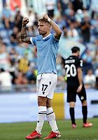 28th August 2021; Olympic Stadium, Rome, Italy; Serie A football, SS Lazio versus AC Spezia : Ciro Immobile of Lazio  celebrates after scoring for 2 -1 in 15th miunute