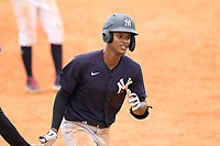 New York Yankees Kevin Alcantara (40) rounds the bases after hitting a home run during an Extended Spring Training game against the Detroit Tigers on June 19, 2021 at Tigertown in Lakeland, Florida.  (Mike Janes/Four Seam Images)
