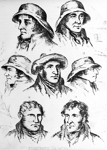Sketches of Claddagh fishermen from the Ulster Journal of Archaeology  provided by Dr John Cunningham of NUI Galway