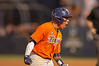 Cal State Fullerton Titans Hank LoForte (9) shows his excitement after hitting a home run against the University of Washington Huskies at the top of the tenth inning at Goodwin Field on June 10, 2018 in Fullerton, California. The Huskies defeated the Titans 6-5. (Donn Parris/Four Seam Images)