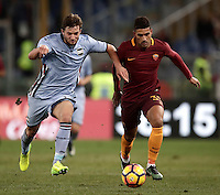 Calcio, ottavi di finale di Tim Cup: Roma vs Sampdoria. Roma, stadio Olimpico, 19 gennaio 2017.<br /> Sampdoria's Bartosz Bereszynski, left, and Roma's Emerson Palmieri fight for the ball during the Italian Cup round of 16 football match between Roma and Sampdoria at Rome's Olympic stadium, 19 January 2017.<br /> UPDATE IMAGES PRESS/Isabella Bonotto