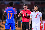 FIFA Referee Tantashev Ilgiz of Uzbekistan (C) speaks to Rowllin Borges of India (L) during the AFC Asian Cup UAE 2019 Group A match between India (IND) and Bahrain (BHR) at Sharjah Stadium on 14 January 2019 in Sharjah, United Arab Emirates. Photo by Marcio Rodrigo Machado / Power Sport Images