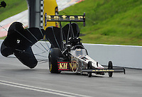 Jun. 18, 2011; Bristol, TN, USA: NHRA top fuel dragster driver Del Worsham during qualifying for the Thunder Valley Nationals at Bristol Dragway. Mandatory Credit: Mark J. Rebilas-