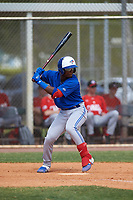 Toronto Blue Jays Estiven Machado (68) bats during an exhibition game against the Canada Junior National Team on March 8, 2020 at Baseball City in St. Petersburg, Florida.  (Mike Janes/Four Seam Images)