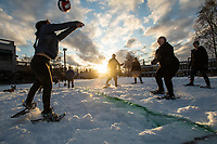 Physical Ed Professional students and faculty from Outdoor Leadership Theory and Practice (PEP A365) host a game of snowshoe volleyball on Cuddy Quad after the first major snowfall of the season at UAA.