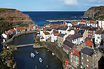 Great Britain, England, North Yorkshire, Staithes: View over historic fishing village on East coast