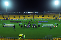 The teams line up before the international rugby match between Manu Samoa and the Maori All Blacks at Sky Stadium in Wellington, New Zealand on Saturday, 26 June 2021. Photo: Dave Lintott / lintottphoto.co.nz
