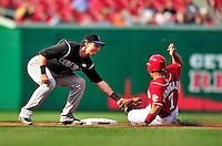 22 April 2010: Colorado Rockies' shortstop Troy Tulowitzki doubles off Ivan Rodriguez during a game against the Washington Nationals at Nationals Park in Washington, DC. The Rockies shut out the Nationals 2-0 gaining a 2-2 series split. Mandatory Credit: Ed Wolfstein Photo