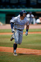 Pensacola Blue Wahoos first baseman Brian O'Grady (21) runs to first base during a game against the Mobile BayBears on April 26, 2017 at Hank Aaron Stadium in Mobile, Alabama.  Pensacola defeated Mobile 5-3.  (Mike Janes/Four Seam Images)