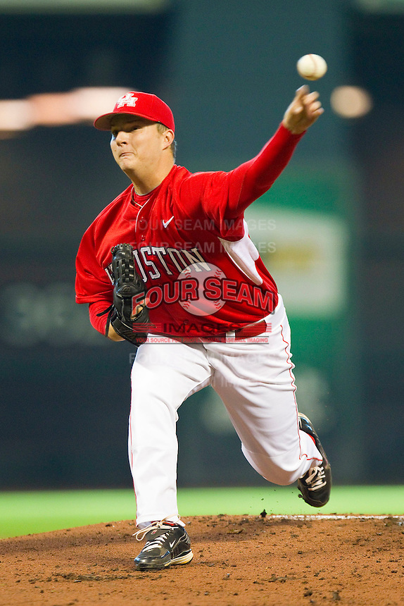Starting pitcher Jordan Lewis #26 of the Houston Cougars in action against the Kentucky Wildcats at Minute Maid Park on March 5, 2011 in Houston, Texas.  Photo by Brian Westerholt / Four Seam Images