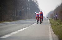 Paris-Roubaix 2013 RECON at Bois de Wallers-Arenberg..Luca Paolini (ITA) looking back