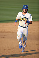 Drew Jackson (5) of the Rancho Cucamonga Quakes runs the bases during a game against the Stockton Ports at Loan Mart Field on July 16, 2017 in Rancho Cucamonga, California. Rancho Cucamonga defeated Stockton 9-1. (Larry Goren/Four Seam Images)