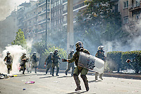 2020 10 07 Riot police clash with protesters in Athens, Greece.