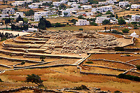 Skarkos hill prehistoric settlement ruins. European Union Cultural Heritage archaeological site of Skarkos