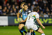 Sonny Parker of Ospreys (left) looks to go past Tom Wood of Northampton Saints during the LV= Cup second round match between Ospreys and Northampton Saints at Riverside Hardware Brewery Field, Bridgend (Photo by Rob Munro)