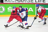 29th May 2021; Olympic Sports Centre, Riga, Latvia; IIHF World Championship Ice Hockey, Czech Republic versus Great Britain;  13 David Phillips Great Britain against 72 Filip Chytil Czech Republic for the puck