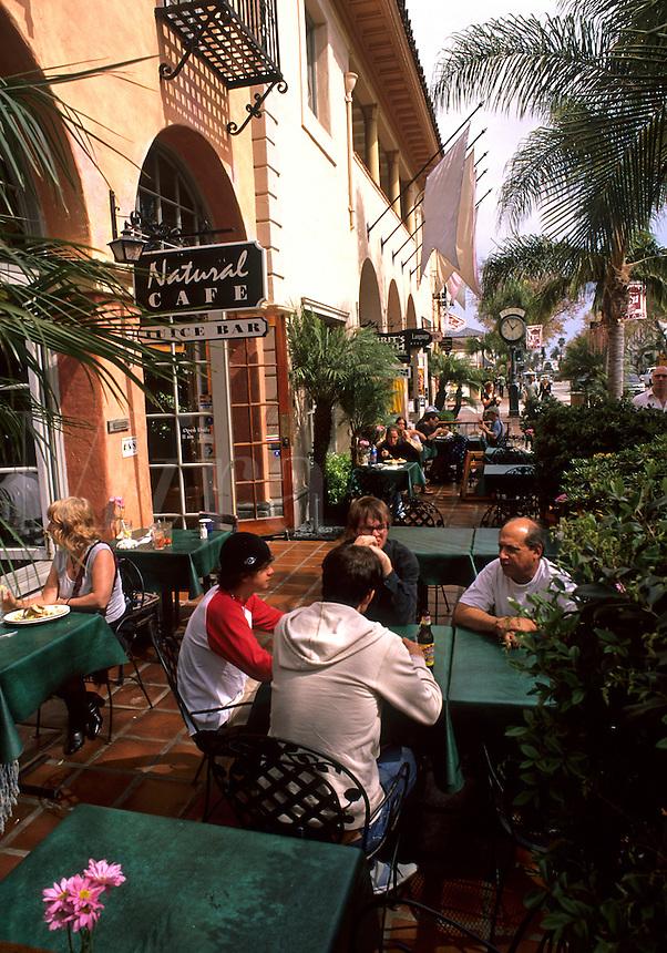 State Street people in restaurant in Old Town Santa Barbara California USA touris
