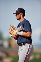 Atlanta Braves first baseman Drew Lugbauer (97) during a Grapefruit League Spring Training game against the Detroit Tigers on March 2, 2019 at Publix Field at Joker Marchant Stadium in Lakeland, Florida.  Tigers defeated the Braves 7-4.  (Mike Janes/Four Seam Images)