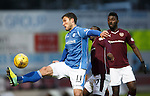 St Johnstone v Hearts..19.12.15  SPFL  McDiarmid Park, Perth<br /> Johns Sutton holds off Juwon Oshaniwa<br /> Picture by Graeme Hart.<br /> Copyright Perthshire Picture Agency<br /> Tel: 01738 623350  Mobile: 07990 594431