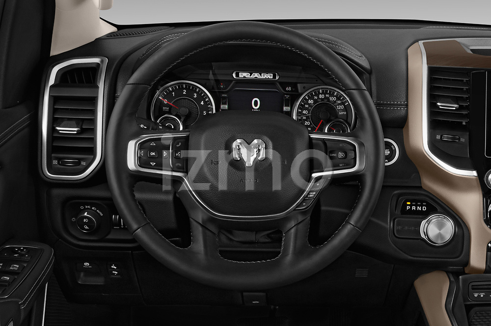 Car pictures of steering wheel view of a 2019 Ram 1500 Crew Cab Laramie Short Box 4x2 4 Door Pick Up