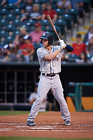 Colorado Springs Sky Sox right fielder Brett Phillips (8) at bat during against the Oklahoma City Dodgers on June 2, 2017 at Chickasaw Bricktown Ballpark in Oklahoma City, Oklahoma.  Colorado Springs defeated Oklahoma City 1-0 in ten innings.  (Mike Janes/Four Seam Images)
