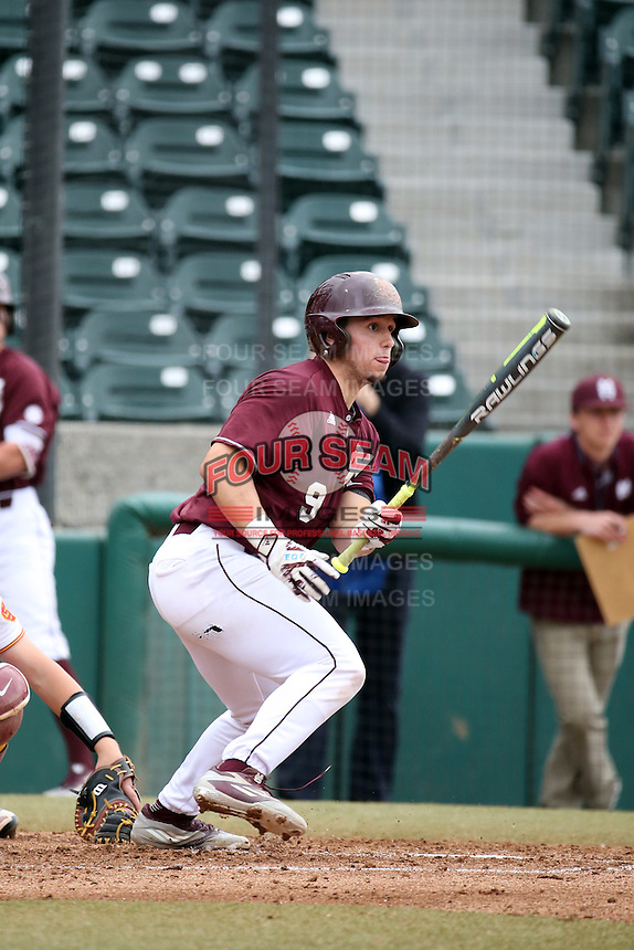 Elih Marrero (9) of the Mississippi State Bulldogs bats against the Southern California Trojans at Dedeaux Field on March 5, 2016 in Los Angeles, California. Mississippi State defeated Southern California , 8-7. (Larry Goren/Four Seam Images)