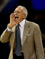 Charlotte Bobcats coach Larry Brown yells instructions at his players while playing the Orlando Magic during an NBA basketball game  at Time Warner Cable Arena in Charlotte, NC.