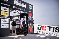 Daniel Bigham (GBR) shooting off the start ramp<br /> <br /> Men Elite Individual Time Trial <br /> from Knokke-Heist to Bruges (43.3 km)<br /> <br /> UCI Road World Championships - Flanders Belgium 2021<br /> <br /> ©kramon