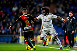 Marcelo Vieira Da Silva of Real Madrid (R) tackles Roberto Roman Triguero, Tito L V, of Rayo Vallecano during the La Liga 2018-19 match between Real Madrid and Rayo Vallencano at Estadio Santiago Bernabeu on December 15 2018 in Madrid, Spain. Photo by Diego Souto / Power Sport Images