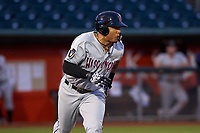 Wisconsin Timber Rattlers left fielder Leugim Castillo (27) hustles towards first base during a Midwest League game against the Lansing Lugnuts at Cooley Law School Stadium on May 1, 2019 in Lansing, Michigan. Wisconsin defeated Lansing 2-1 in the second game of a doubleheader. (Zachary Lucy/Four Seam Images)