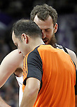 Real Madrid's Sergio Rodriguez have words with the referee during Euroleague match.February 5,2015. (ALTERPHOTOS/Acero)