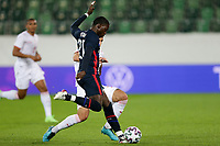 ST. GALLEN, SWITZERLAND - MAY 30: Timothy Weah #21 of the United States passes off the ball during a game between Switzerland and USMNT at Kybunpark on May 30, 2021 in St. Gallen, Switzerland.