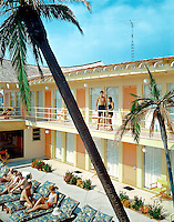 Tahiti Motel, Wildwood, NJ. Balcony area with palm trees.1960's photograph.