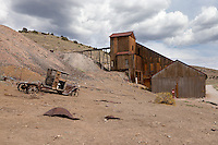 Knickerbocker Stamp mill and abandoned pickup truck at Berlin-Ichthyosaur State Park in Nevada.