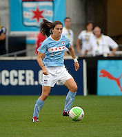 Chicago midfielder Karen Carney (14) controls the ball.  The Chicago Red Stars defeated the Washington Freedom 2-1 at Toyota Park in Bridgeview, IL on September 5, 2010.